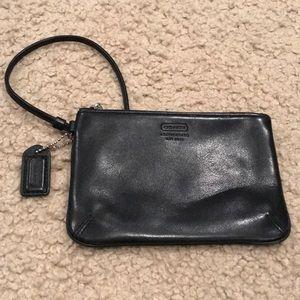 Black Leather COACH wristlet